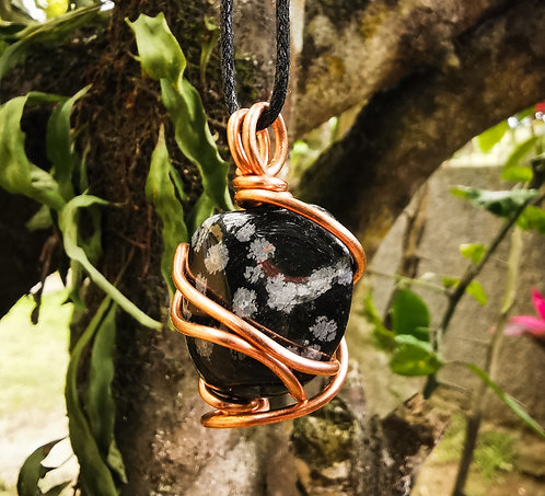snowflake obsidian x copper • adjustable necklace