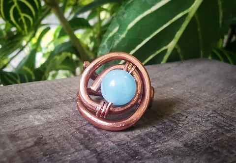 aquamarine x copper ring • size 6