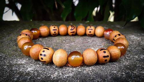 carnelian・wood-burned bracelet