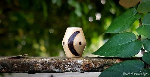 moon・wood-burned bicone loc bead