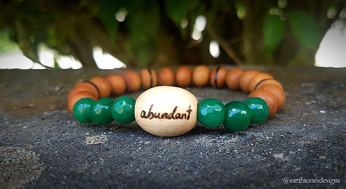 jade + abundance・wood-burned bracelet