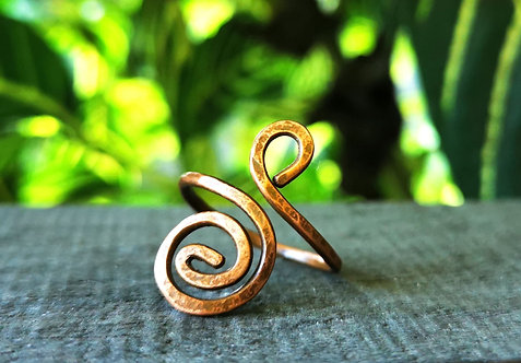 spiral copper ring・size 9.5