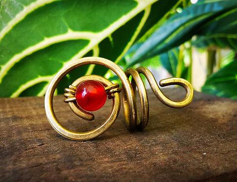 carnelian x brass •loc bead