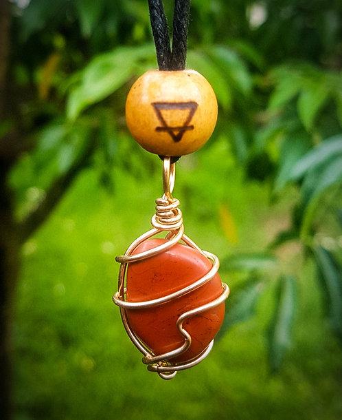 red jasper + earth symbol・adjustable necklace