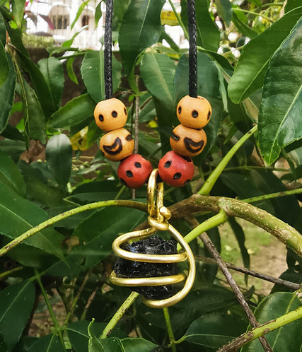 black tourmaline + wood-burned beads・adjustable necklace