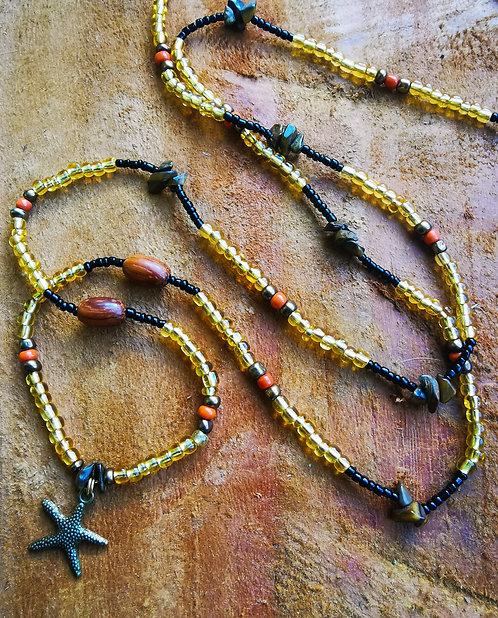 "tiger eye + starfish・40"" waistbeads"