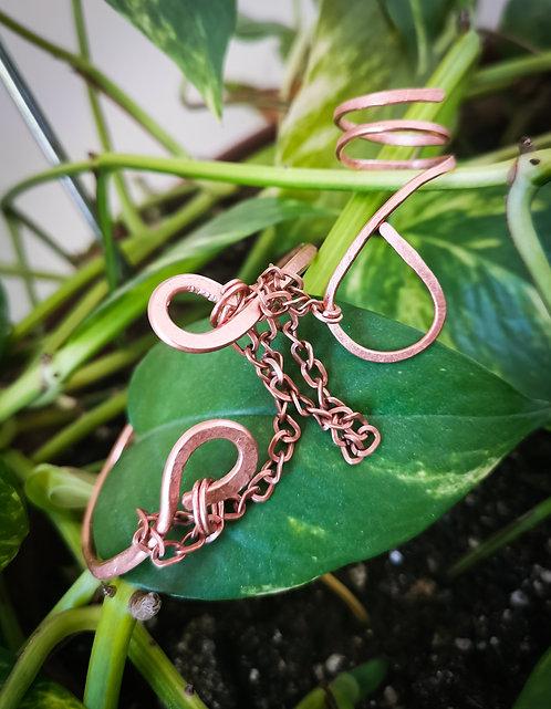 copper・hammered bangle + ring