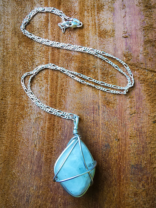 rainbow moonstone x sterling silver・chain necklace