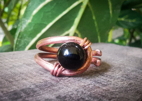 onyx x copper ring • size 9.5