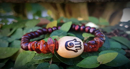 baltic amber + hamsa・wood-burned bracelet