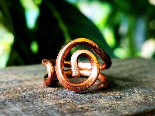 spiral copper ring・size 6.5