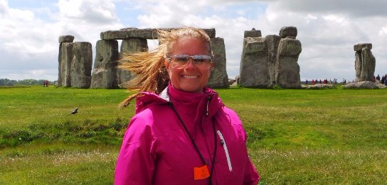 Melissa Meredith Fail standing near Stone Henge in Great Britain