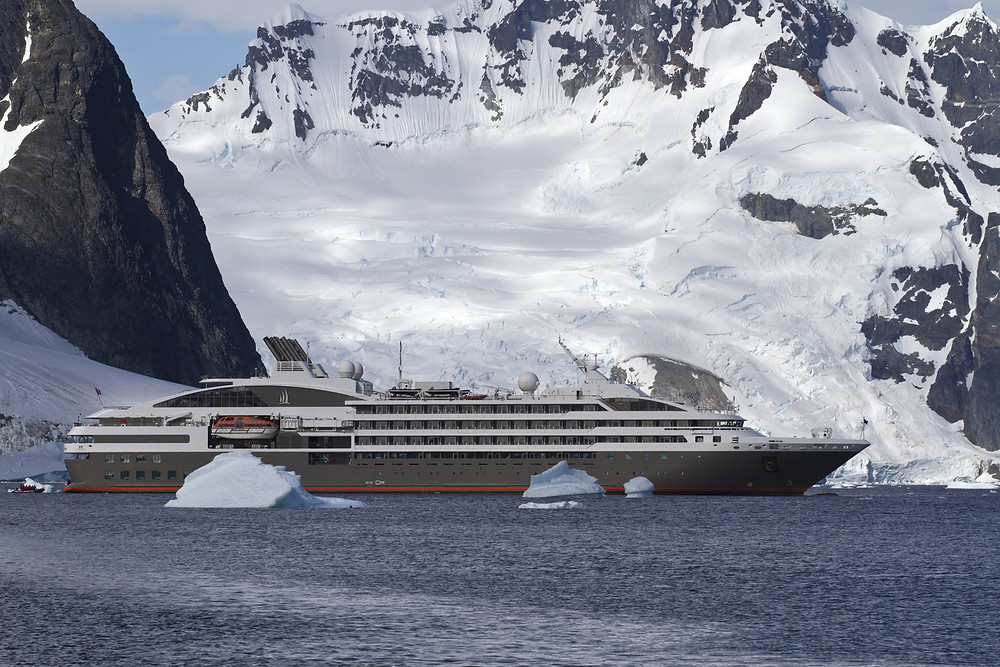 Expedition ship in icy water