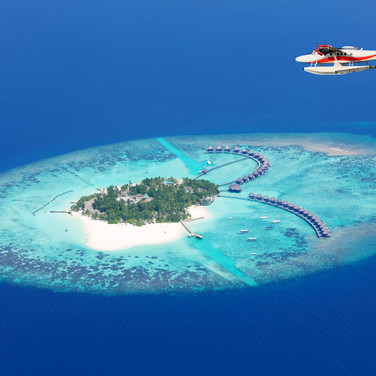 Maldives overhead shot of atoll with red