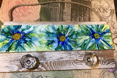 The Wildflower Series: Blue and Green Pallet Plank