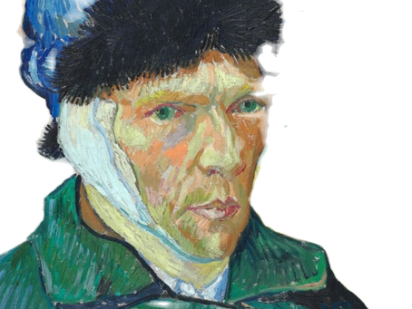 Van Gogh bandaged ear, painting.
