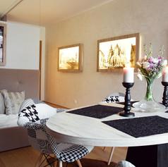 Brunetti Design Apartment Prague - obyvací část a jídelna