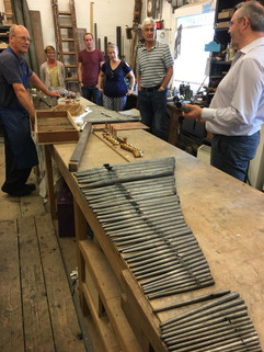Touring Nicholson's Organ Builders workshop whilst in Gloucester, 2017