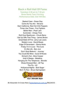 Rock n Roll Hall of Fame Setlist