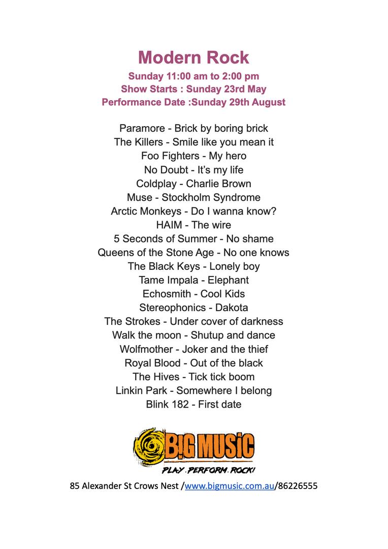 Modern Rock Setlist