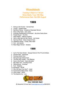 Woodstock Setlist