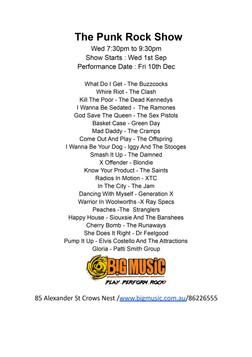 The Punk Rock Show Setlist