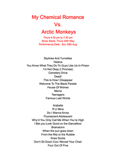 My Chemical Romance vs Arctic Monkeys Setlist