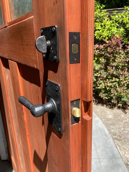 Redwood Garage Door Handware Detail