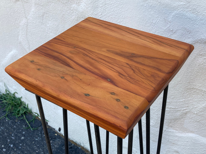 Reclaimed Peroba End Table with Metal Legs