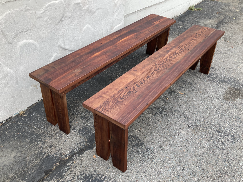 Reclaimed Redwood Outdoor Benches