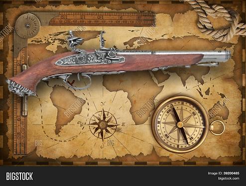 Replica 18TH Century Antique Grey Finish Flintlock Pistol Non-Firing Gun