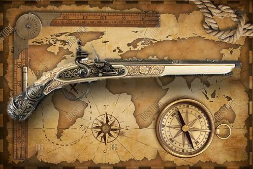 German Replica 17TH Century Flintlock Pistol Non-Firing Gun Ivory & Grey