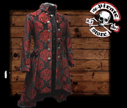 'ORDER OF THE DRAGON COAT – RED/BLACK VELVET BROCADE