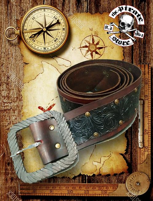 Ornate Capt. Leather Belt