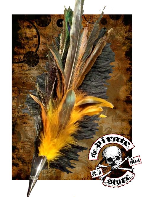 Yellow and brown feathers and stuff.