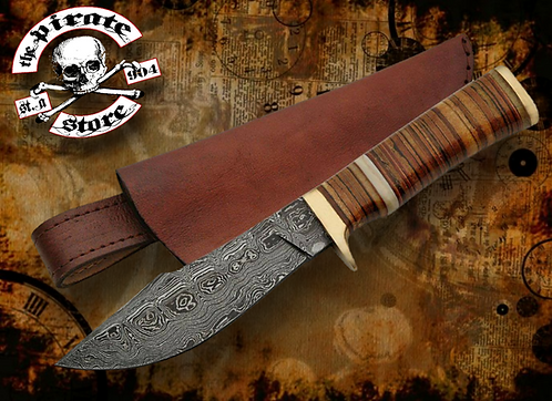 """9.5"""" DAMASCUS LEATHER STACKED BOWIE"""