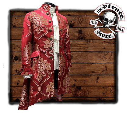 'ORDER OF THE DRAGON COAT – BLOOD RED BROCADE