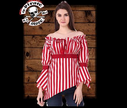 Felicia High-Low Hem Blouse (Stripe Fabric)