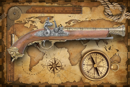 Pirate Replica Brass Flintlock Non-Firing Gun