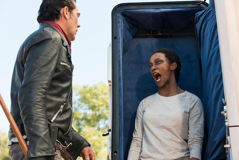 "Sonequa Martin-Green (Sasha) has the last word for Jeffrey Dean Morgan (Negan) and it's not ""You had me at hello."" Photo credit: Gene Page/AMC"