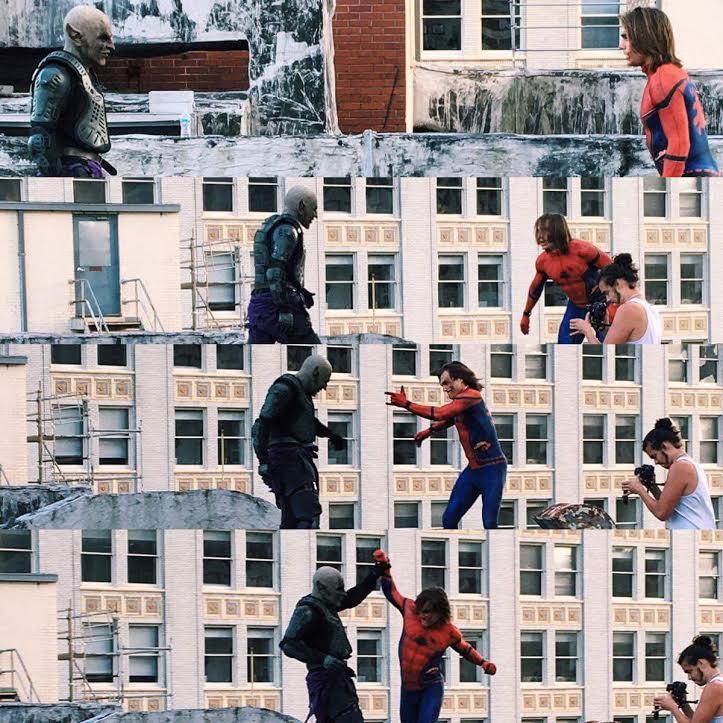 Samuel Scimeca (Green Goblin) fights Tyler Buckingham (Spider-Man) as Jesse Scimeca films
