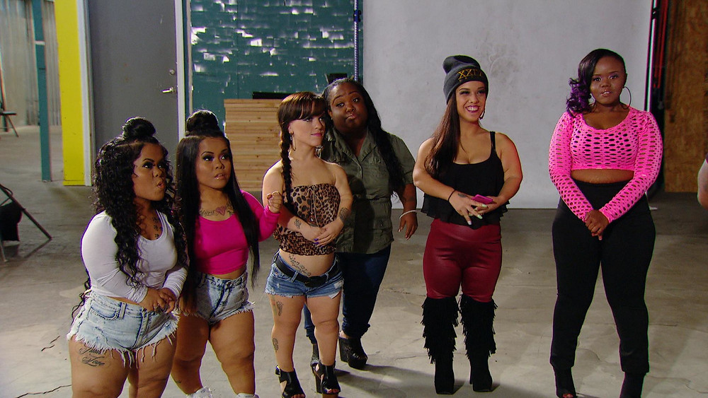 "From left to right: Amanda & Andrea Salinas, ""The Tiny Twins,"" Brianna ""Left Cheek"" Burlap, Ashley ""Minnie"" Ross, Emily ""Right Cheek"" Fernandez from Little Women: Atlanta"