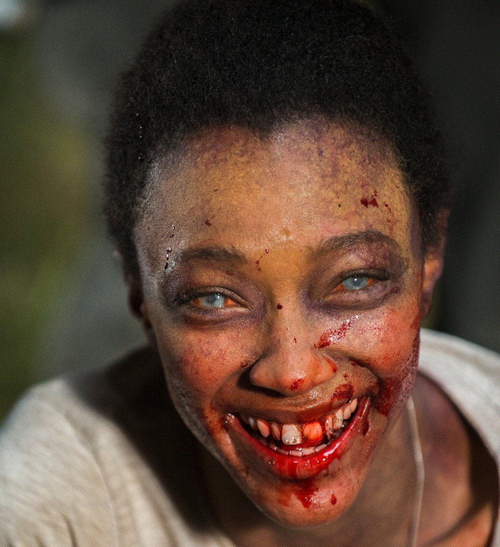 Exec Producer Greg Nicotero fell in love with makeup and special effects after seeing Jaws in 1975. His team's work here on Sonequa Martin-Green (Sasha Williams) set the stage for one of Season 7's most powerful self-sacrifices. Photo credit: Gene Page/AMC