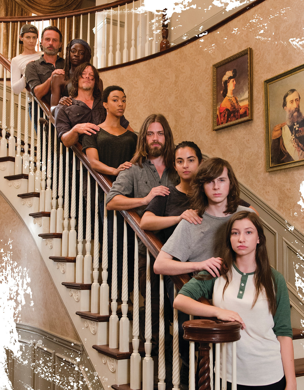 When presented with a beautiful Georgian staircase, even villains and heroes join hands to make the best of the opportunity. BTF: Lauren Cohan (Maggie Greene), Andrew Lincoln (Rick Grimes), Danai Girora (Michonne), Norman Reedus (Daryl Dixon), Sonequa Martin-Green (Sasha Williams), Tom Payne (Paul 'Jesus' Rovia), Alanna Masterson (Tara Chambler), Chandler Riggs (Carl Grimes), Katelyn Nacon (Enid). Photo credit: Gene Page/AMC