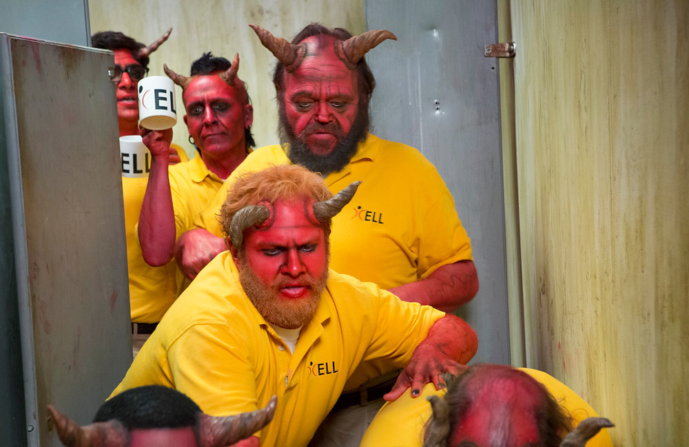 Center: Gary (Henry Zebrowski) and the other demons pile into the restroom to try Eddie's newest inebriating concoction in season two of Your Pretty Face Is Going To Hell premiering on Sunday, July 12th at 12:15 a.m. (ET/PT) on Adult Swim