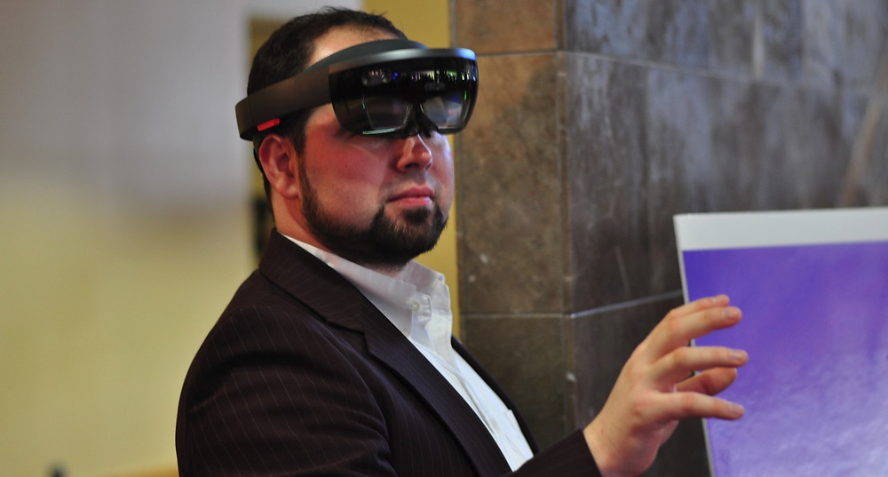 Atlanta Film Society's Christopher Escobar experiences the Microsoft HoloLens