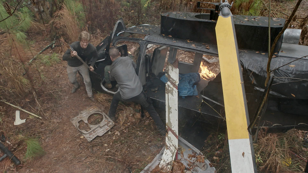 """A crash in """"Kazakhstan"""" from the episode Large Blade, wooded location is adjacent to the Mailing Avenue Studios"""