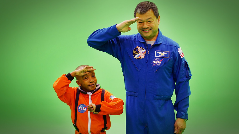 Zayden Wright and Cmdr. LeRoy Chiao