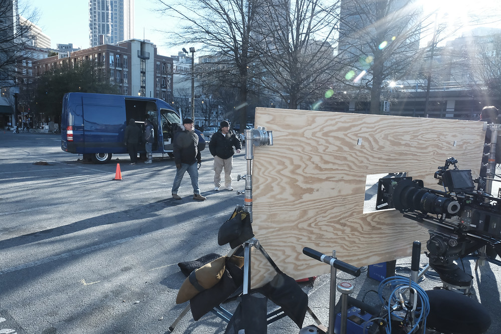 Shooting at the Marietta Plaza, which doubled for Amsterdam in the Ruler episode