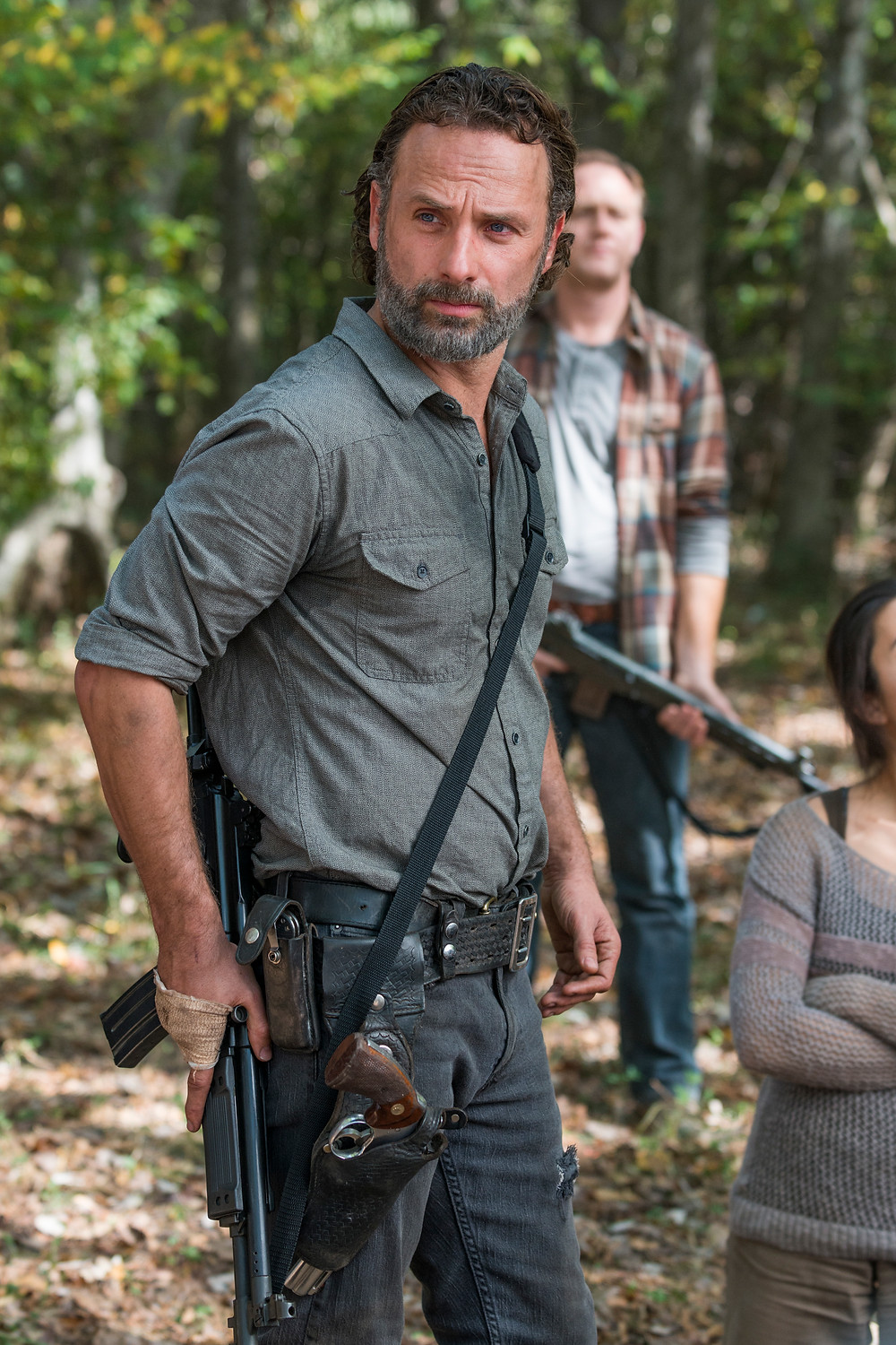 Andrew Lincoln (as Rick Grimes) is one of the most familiar faces in America today. Even with Zombies on screen, he commands attention. Photo credit: Gene Page/AMC